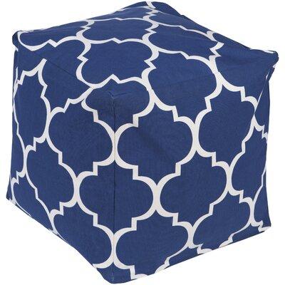 Chelsie Geometric Pouf Ottoman Upholstery: Cobalt