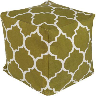 Chelsie Geometric Pouf Ottoman Upholstery: Olive