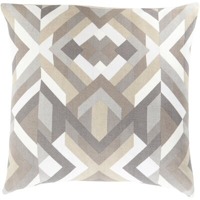 Neptune Geometric Cotton Throw Pillow Size: 18 H x 18 W x 4 D, Color: Charcoal, Filler: Polyester
