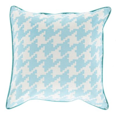 Alldredge Cotton Throw Pillow Size: 18 H x 18 W x 4 D, Color: Aqua, Filler: Down