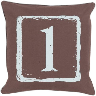 Cotton Throw Pillow Number: 1, Size: 18 H x 18 W x 4 D, Color: Slate/Brow