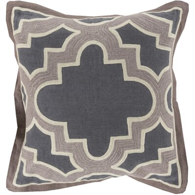 Alsip Cotton Throw Pillow Size: 18 H x 18 W x 4 D, Color: Charcoal/Gray, Filler: Down