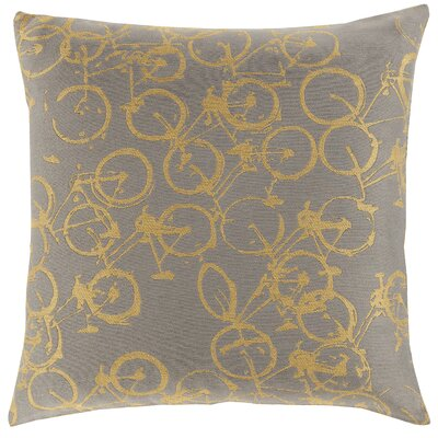 Bicycle Print Throw Pillow Size: 20 H x 20 W x 4 D, Color: Gold / Charcoal, Filler: Polyester
