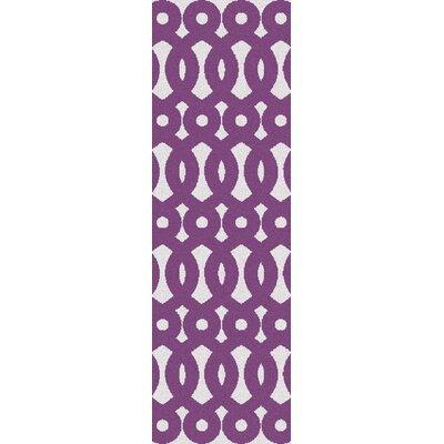 Beals Geomeric Violet Area Rug Rug Size: Runner 26 x 8