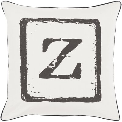 Isabelle Cotton Throw Pillow Size: 18 H x 18 W x 4 D, Color: Black/Light Gray, Letter: Z
