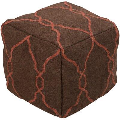 Mars Hill Geometric Pouf Upholstery: Dark Chocolate, Cerise