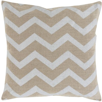 Elbert Wave Linen Throw Pillow Size: 18 H x 18 W x 4 D, Color: Light Gray / Beige, Filler: Down