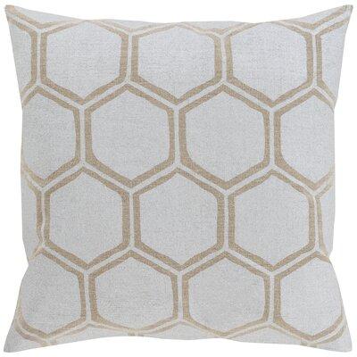 Linen Throw Pillow Color: Light Gray/Beige, Size: 20 H x 20 W x 4 D, Filler: Polyester