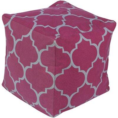 Chelsie Geometric Pouf Ottoman Upholstery: Magenta