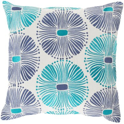 Francille Cotton Throw Pillow Size: 18 H x 18 W x 4 D, Color: Teal / Navy, Filler: Down