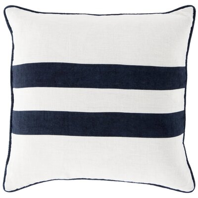 Nerys Linen Throw Pillow Size: 22 H x 22 W x 4 D, Color: Navy, Filler: Down