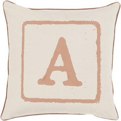 Down Cotton Throw Pillow Letter: A, Size: 20 H x 20 W x 5 D, Color: Tan/Beige