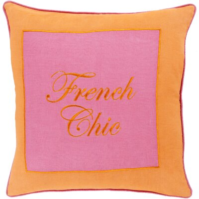 Cornelius French Chic Throw Pillow Size: 22 H x 22 W x 4 D, Color: Tangerine / Hot Pink, Filler: Down