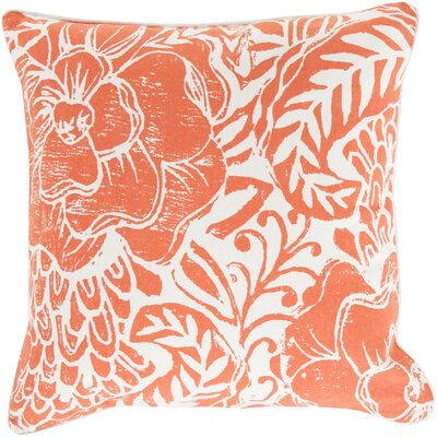 Ryele Cotton Throw Pillow Size: 22 H x 22 W x 4 D, Color: Poppy, Fill Material: Down