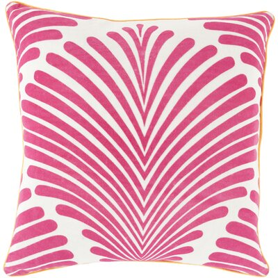 Linda Cotton Throw Pillow Size: 18 H x 18 W x 4 D, Color: Hot Pink/Ivory, Filler: Down