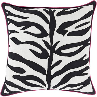 Eugenia Zebra Throw Pillow Size: 22 H x 22 W x 4 D, Color: Charcoal, Filler: Down