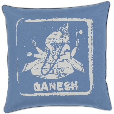 Cotton Throw Pillow Size: 22 H x 22 W x 4 D, Color: Beige/Cobalt, Filler: Polyester