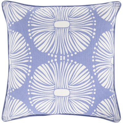 Francene Cotton Throw Pillow Size: 22 H x 22 W x 4 D, Color: Blue, Filler: Down