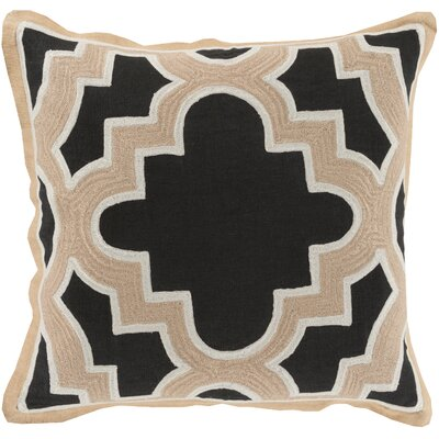 Alsip Cotton Throw Pillow Size: 18 H x 18 W x 4 D, Color: Black/Beige, Filler: Down
