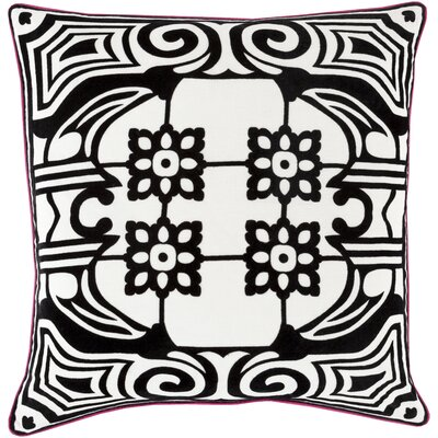 Ace Linen Throw Pillow Size: 20 H x 20 W x 4 D, Color: Black, Filler: Polyester