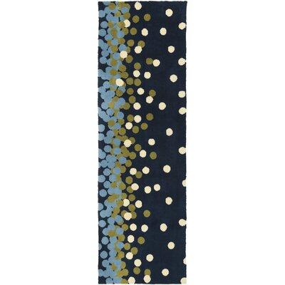 Clive Navy/Sky Blue Area Rug Rug Size: Runner 26 x 8