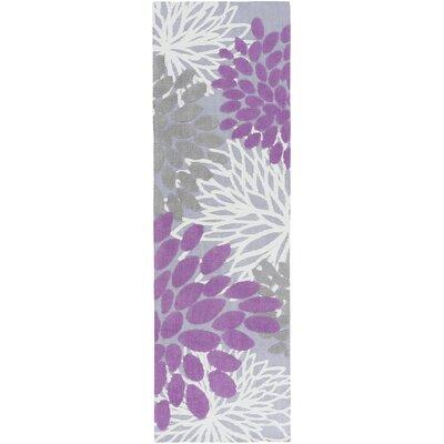 Odele Lavender/Gray Area Rug Rug Size: Runner 26 x 8