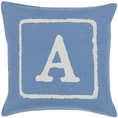 Isabelle Cotton Throw Pillow Size: 18 H x 18 W x 4 D, Color: Beige/Cobalt, Letter: A