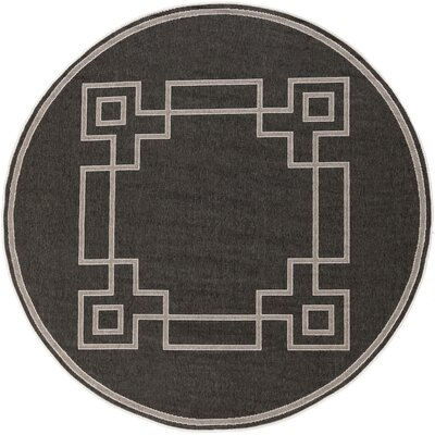 Pearce Black/Beige Indoor/Outdoor Area Rug Rug Size: Round 73