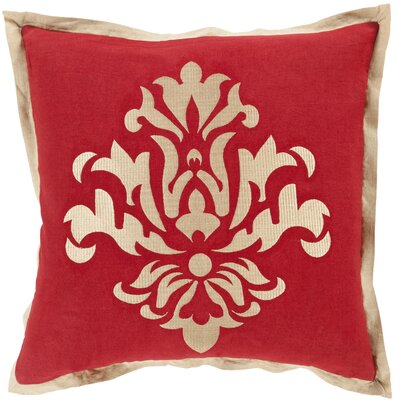 Boulters Throw Pillow Size: 18 H x 18 W x 4 D, Color: Cherry, Filler: Down
