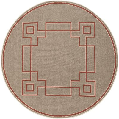 Pearce Beige/Cherry Indoor/Outdoor Area Rug Rug Size: Round 89
