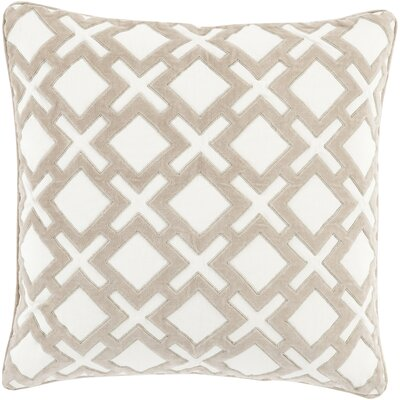 Boulton Throw Pillow Size: 18 H x 18 W x 4 D, Color: Light Gray/Ivory, Filler: Down