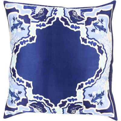 Knowland Silk Throw Pillow Size: 20 H x 20 W x 4 D, Color: Navy, Filler: Down