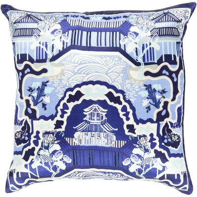 Silk Throw Pillow Size: 22 H x 22 W x 4 D, Color: Navy, Filler: Polyester