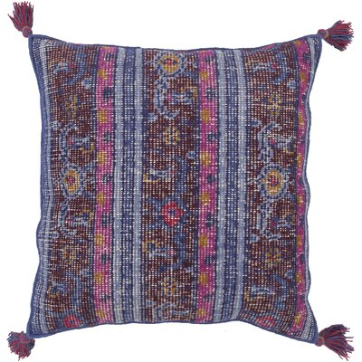 Cantrell Hand-knotted Indoor Throw Pillow Color: Navy, Filler: Polyester