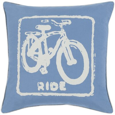 Andrea Bike Ride Cotton Throw Pillow Size: 20 H x 20 W x 5 D, Color: Beige / Cobalt, Filler: Down