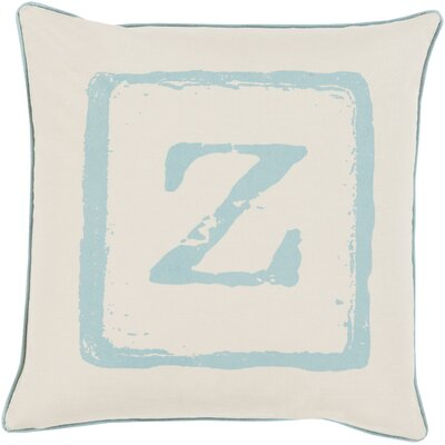 Down Cotton Throw Pillow Size: 22 H x 22 W x 4 D, Color: Moss/Beige, Letter: Z