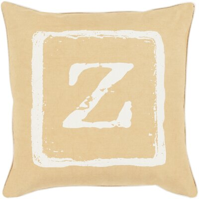 Isabelle Cotton Throw Pillow Size: 22 H x 22 W x 4 D, Color: Ivory/Gold, Letter: Z