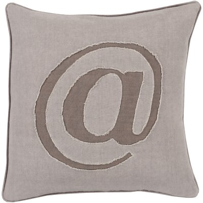 Griffith Linen Text Throw Pillow Size: 18 H x 18 W x 4 D, Color: Gray, Filler: Polyester