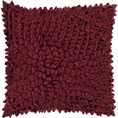 Berryville Throw Pillow Size: 20 H x 20 W x 4 D, Color: Burgundy, Filler: Polyester