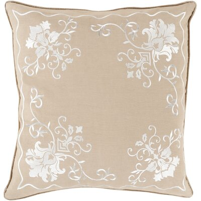Throw Pillow Size: 22 H x 22 W x 4 D, Color: Ivory/Taupe, Filler: Down