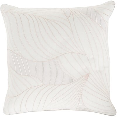 Borman Cotton Throw Pillow Size: 20 H x 20 W x 5 D, Color: Ivory/Light Gray, Filler: Down