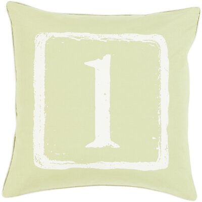 Cotton Throw Pillow Number: 1, Size: 22 H x 22 W x 4 D, Color: Ivory/Lime