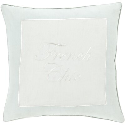 Cornelius French Chic Throw Pillow Size: 22 H x 22 W x 4 D, Color: Mint / Ivory, Filler: Down