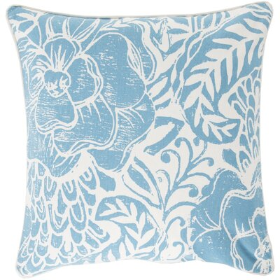 Ryele Cotton Throw Pillow Size: 22 H x 22 W x 4 D, Color: Sky Blue, Fill Material: Down