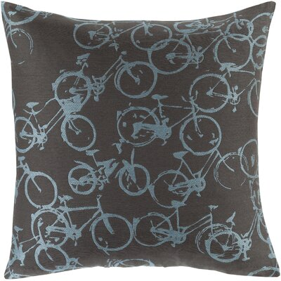 Bicycle Print Throw Pillow Size: 18 H x 18 W x 4 D, Color: Sky Blue / Black, Filler: Polyester