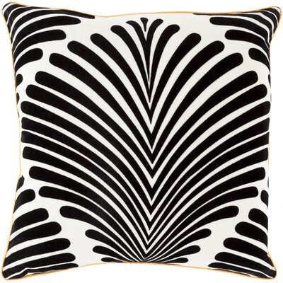 Cotton Throw Pillow Size: 18 H x 18 W x 4 D, Color: Charcoal/Ivory, Filler: Down