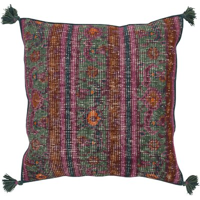 Cantrell Hand-knotted Indoor Throw Pillow Color: Teal, Filler: Down