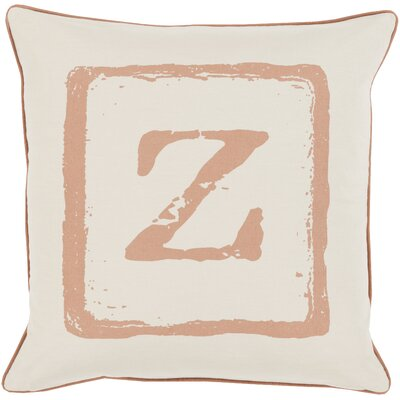 Isabelle Cotton Throw Pillow Size: 22 H x 22 W x 4 D, Color: Tan/Beige, Letter: Z