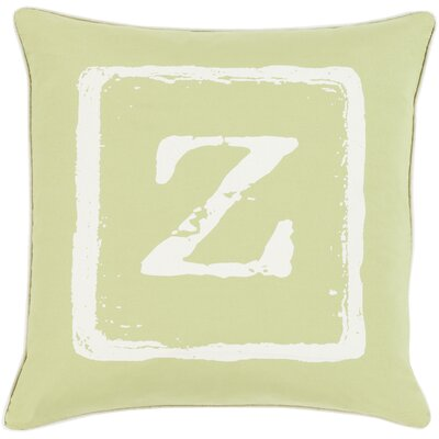 Isabelle Cotton Throw Pillow Size: 18 H x 18 W x 4 D, Color: Ivory/Lime, Letter: Z