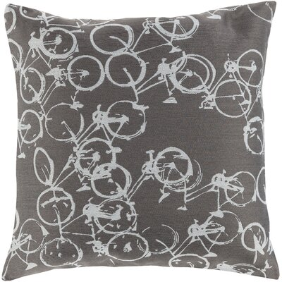 Bicycle Print Throw Pillow Size: 20 H x 20 W x 4 D, Color: Light Gray / Ivory, Filler: Polyester